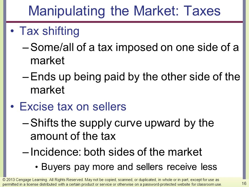 Manipulating the Market: Taxes