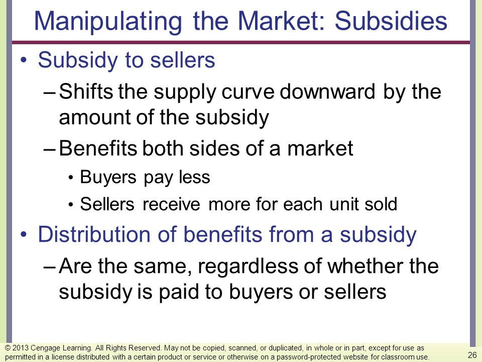 Manipulating the Market: Subsidies