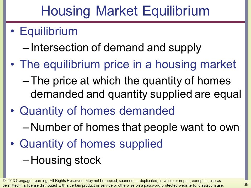 Housing Market Equilibrium