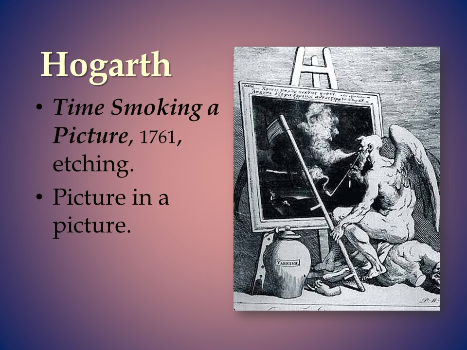 Hogarth Time Smoking a Picture, 1761, etching. Picture in a picture.