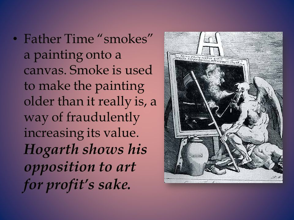 Father Time smokes a painting onto a canvas