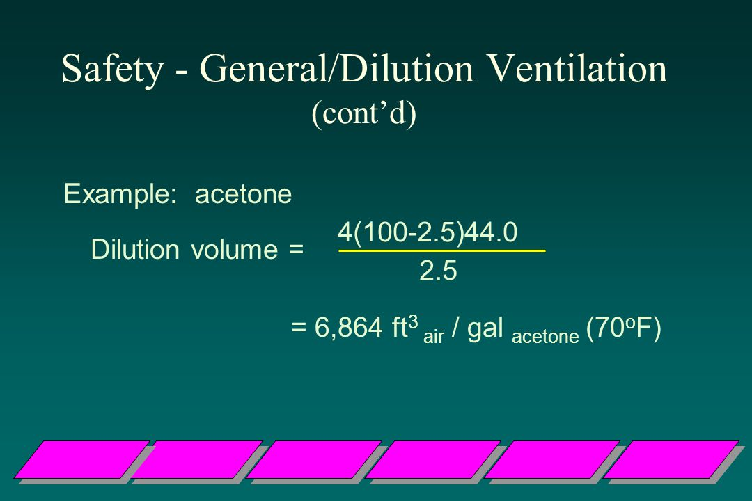 Safety - General/Dilution Ventilation (cont'd)