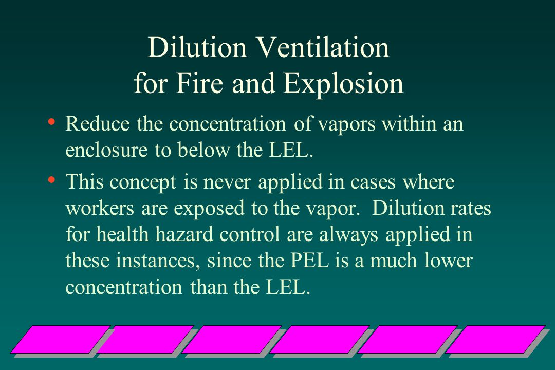 Dilution Ventilation for Fire and Explosion