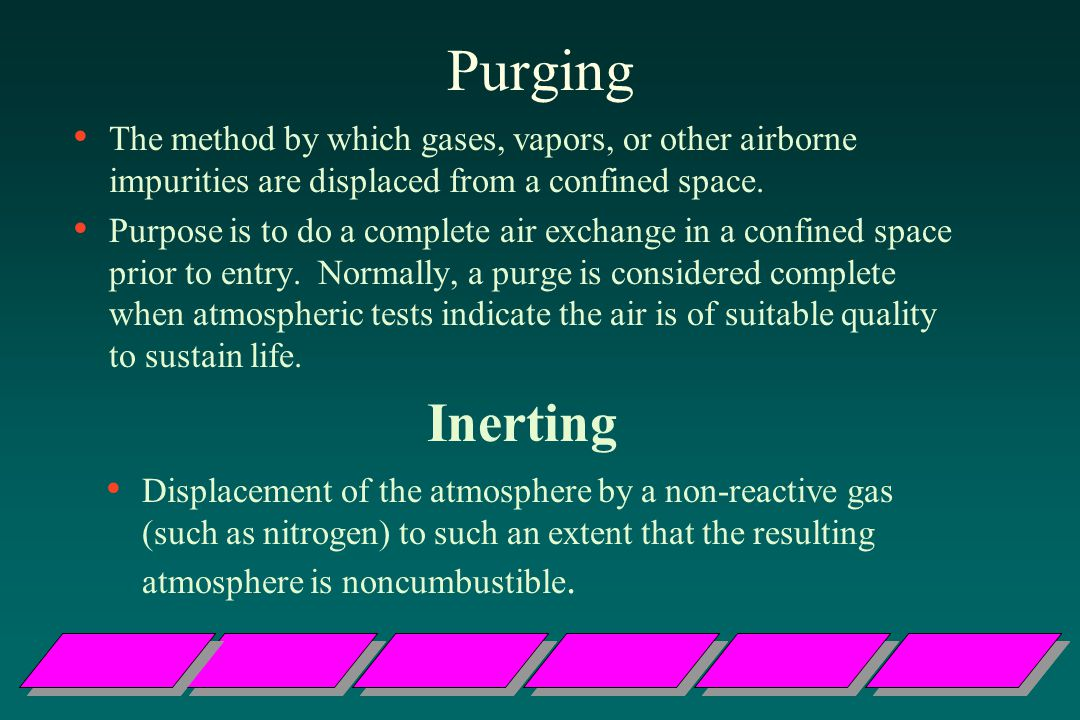 Purging The method by which gases, vapors, or other airborne impurities are displaced from a confined space.