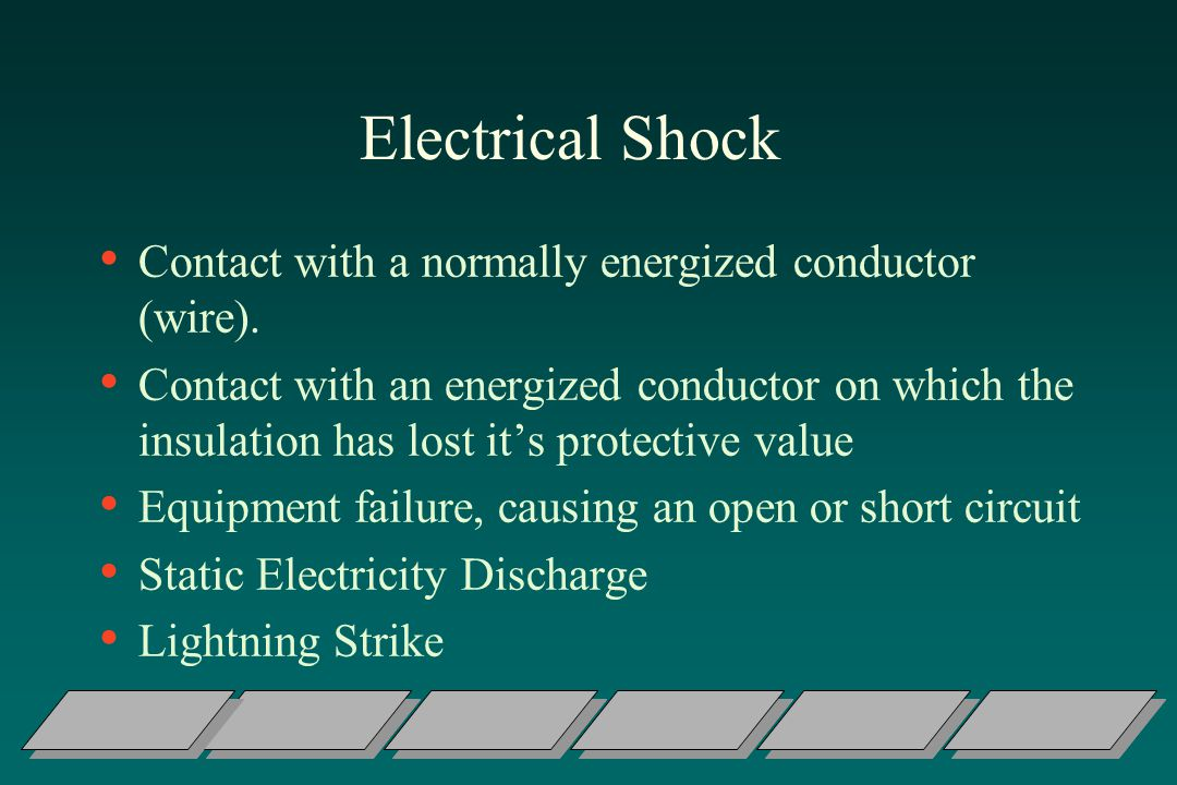 Electrical Shock Contact with a normally energized conductor (wire).