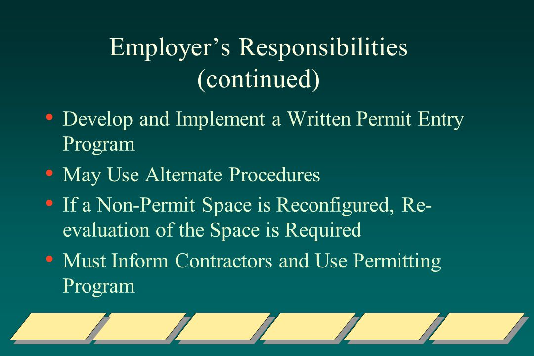 Employer's Responsibilities (continued)
