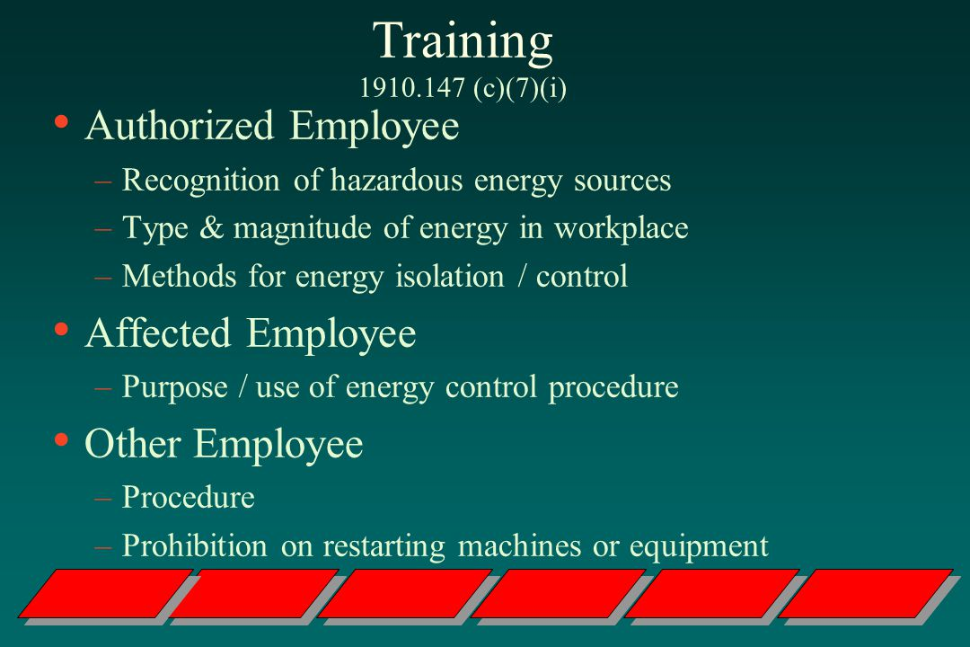 Training (c)(7)(i) Authorized Employee Affected Employee