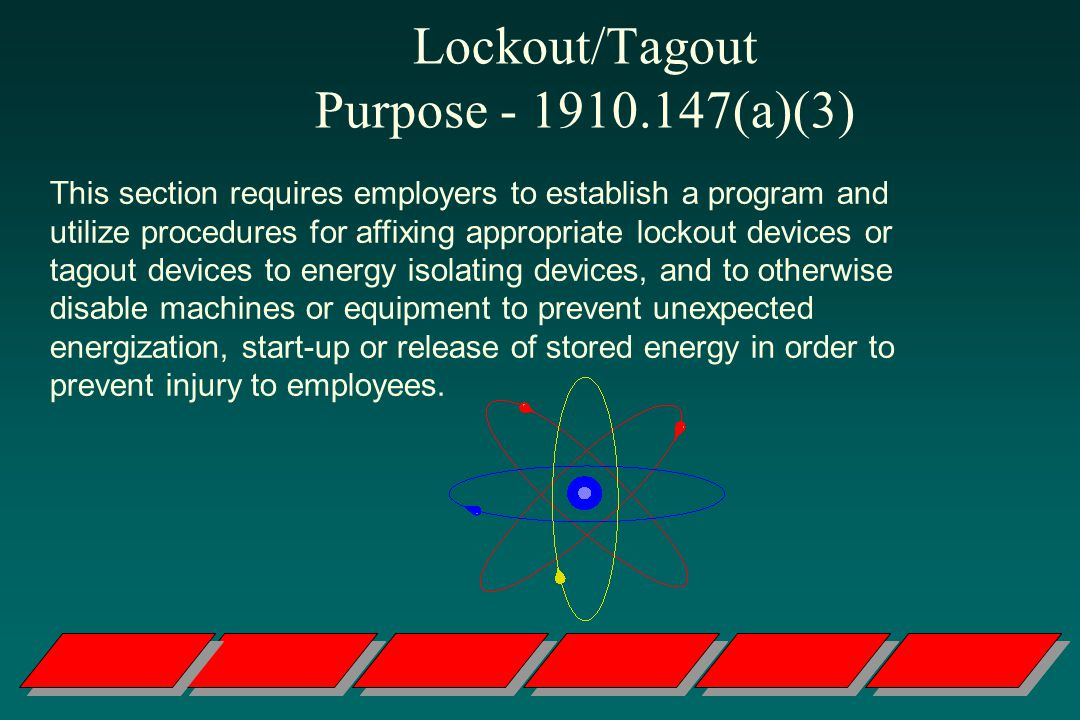 Lockout/Tagout Purpose - 1910.147(a)(3)