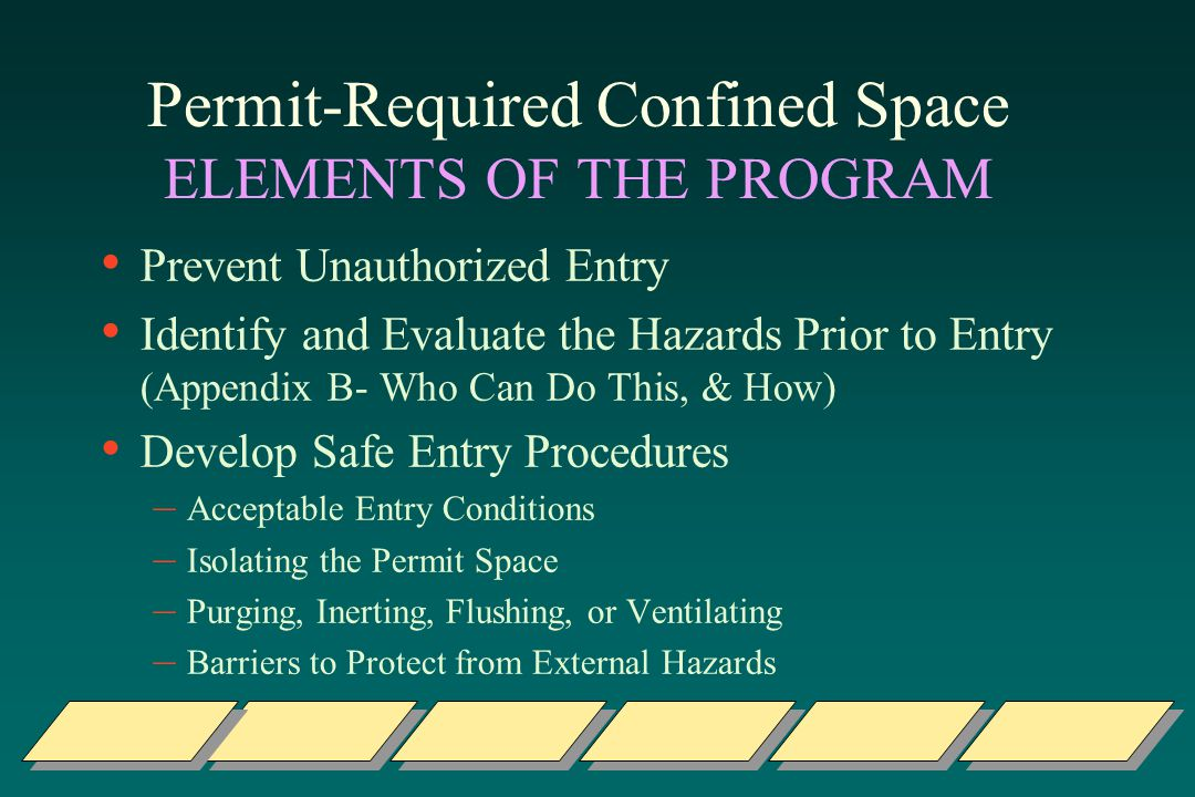 Permit-Required Confined Space ELEMENTS OF THE PROGRAM