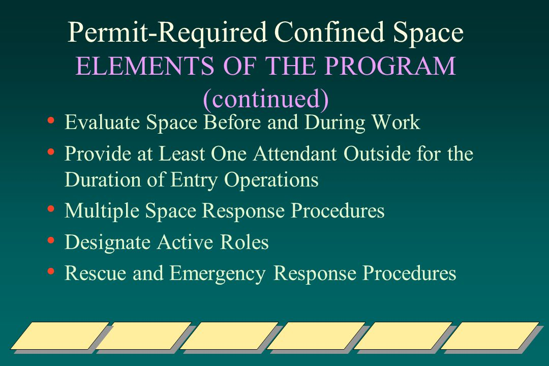 Permit-Required Confined Space ELEMENTS OF THE PROGRAM (continued)