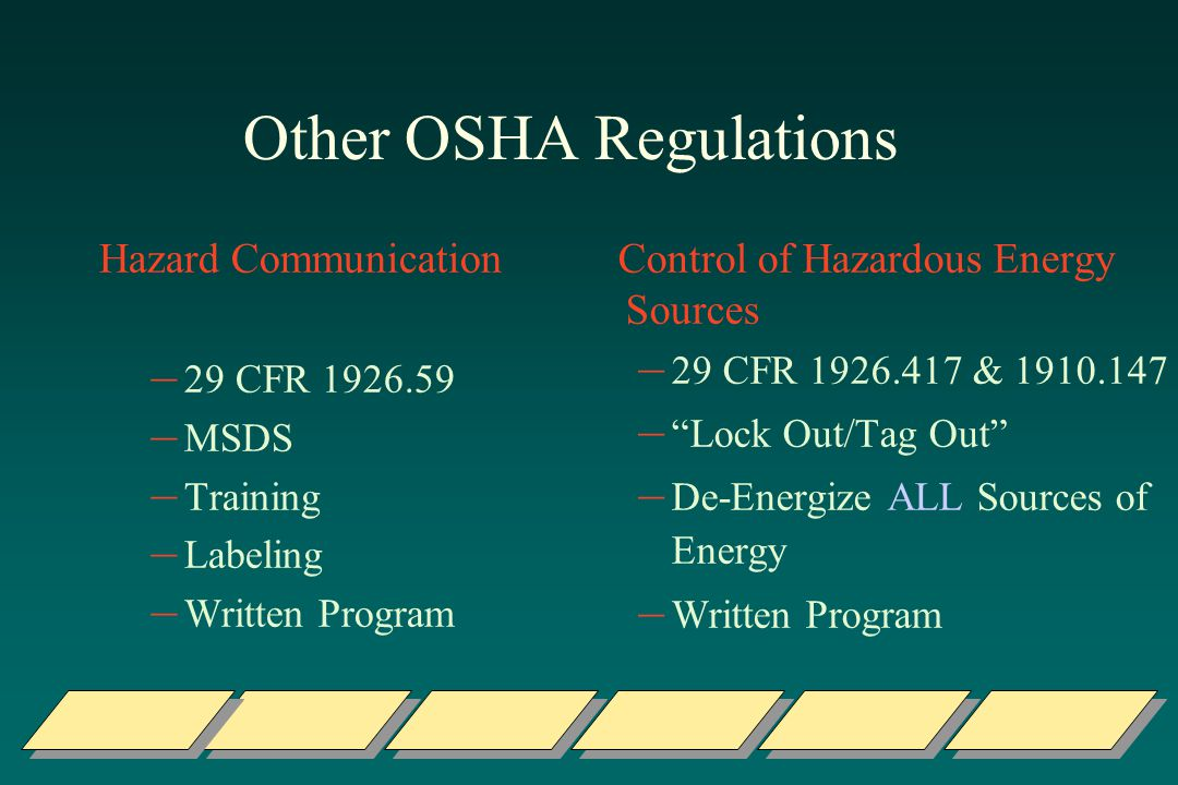 Other OSHA Regulations