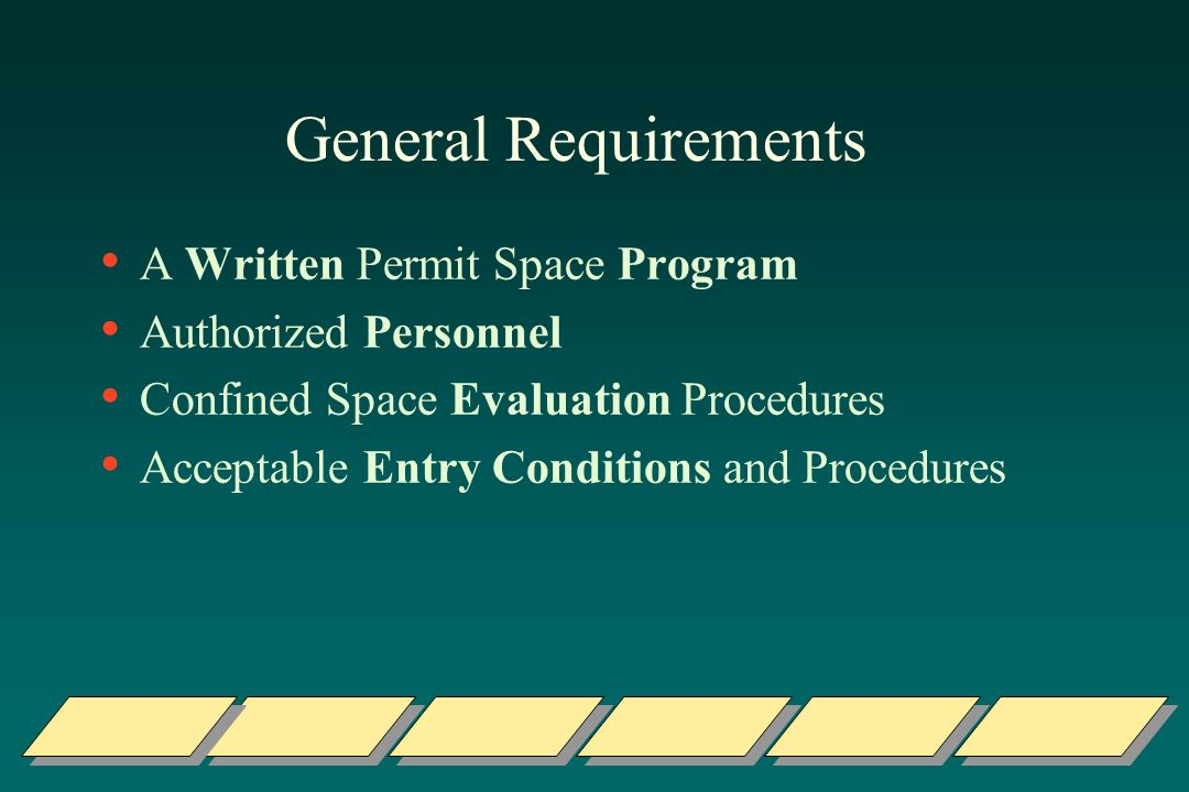 General Requirements A Written Permit Space Program