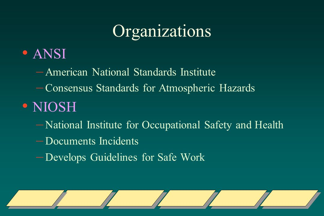 Organizations ANSI NIOSH American National Standards Institute