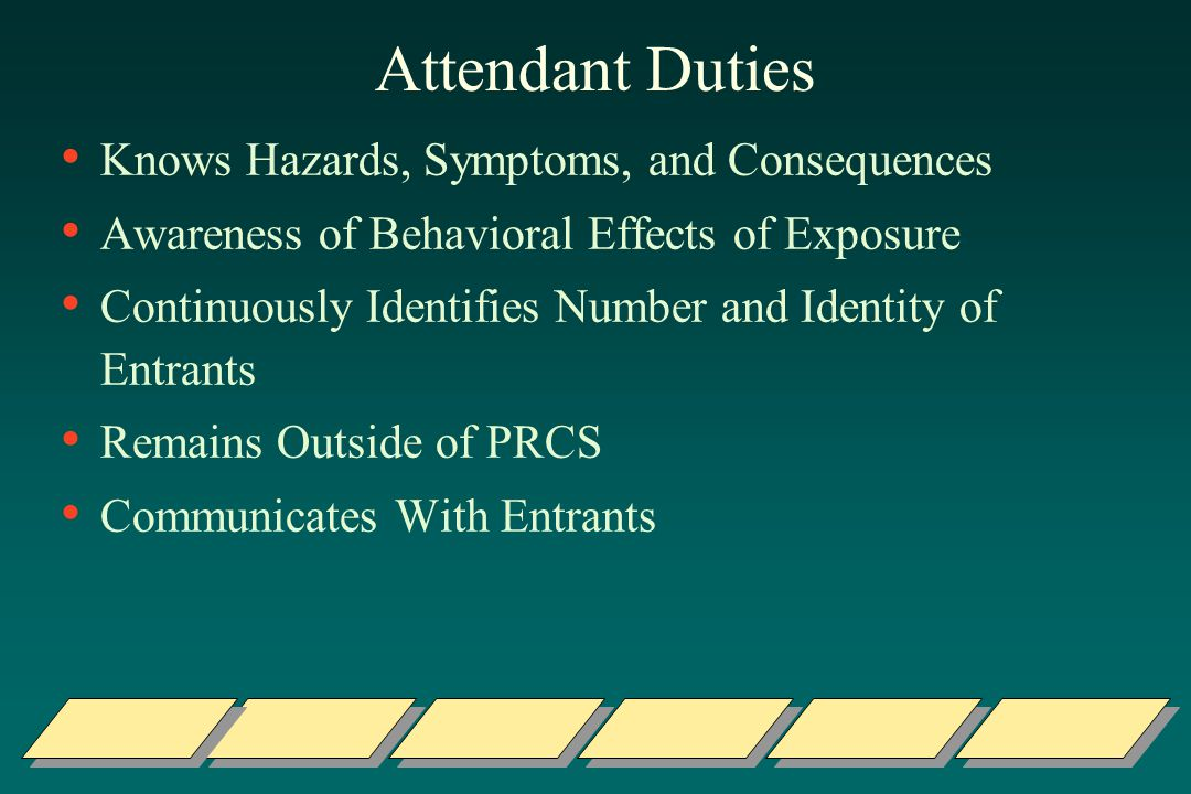 Attendant Duties Knows Hazards, Symptoms, and Consequences