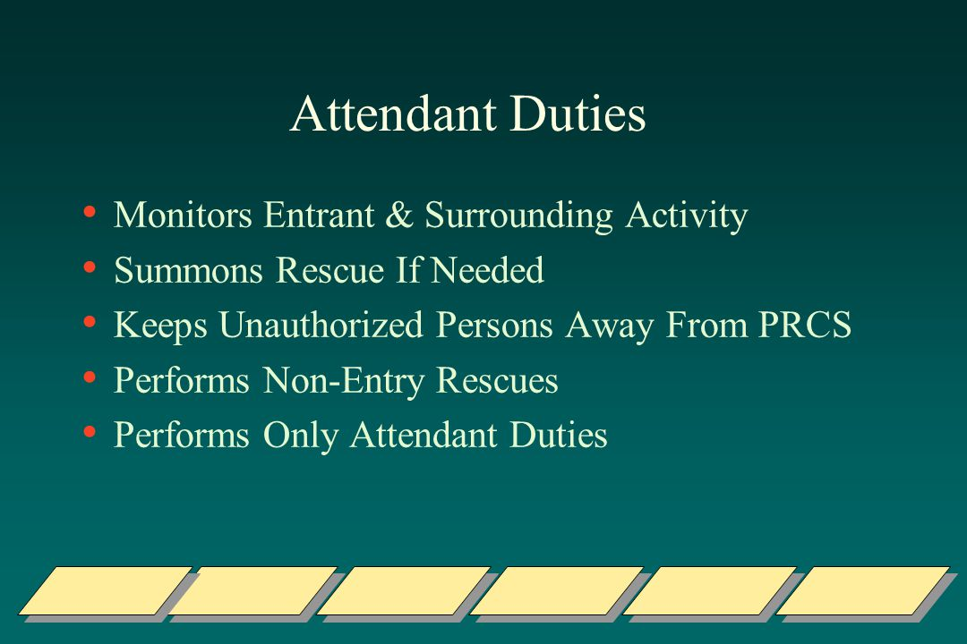Attendant Duties Monitors Entrant & Surrounding Activity