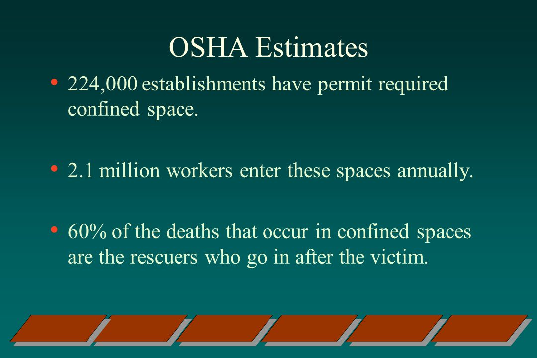 OSHA Estimates 224,000 establishments have permit required confined space. 2.1 million workers enter these spaces annually.