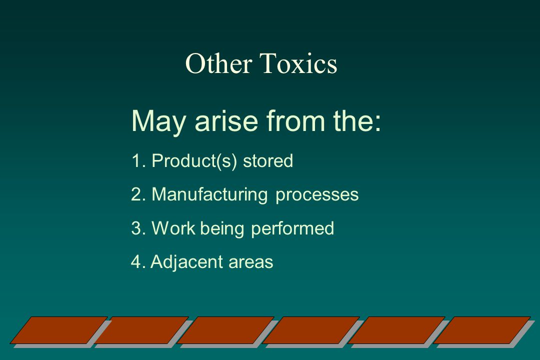 Other Toxics May arise from the: 1. Product(s) stored
