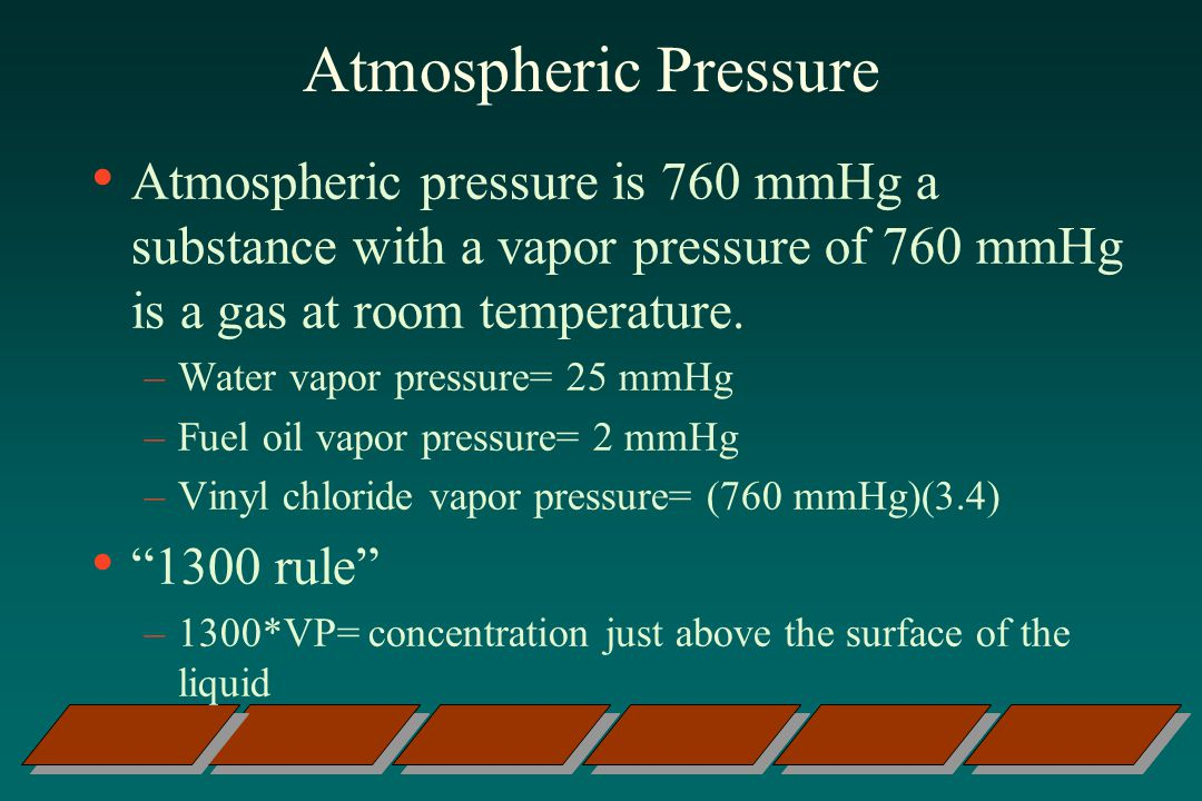 Atmospheric Pressure Atmospheric pressure is 760 mmHg a substance with a vapor pressure of 760 mmHg is a gas at room temperature.