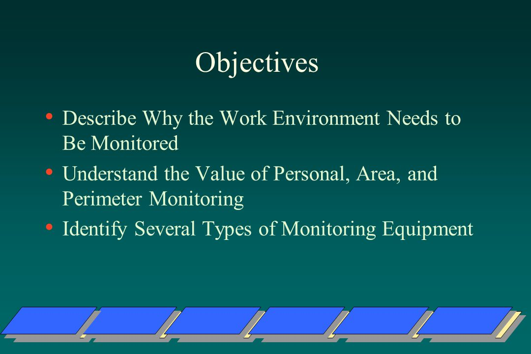 Objectives Describe Why the Work Environment Needs to Be Monitored