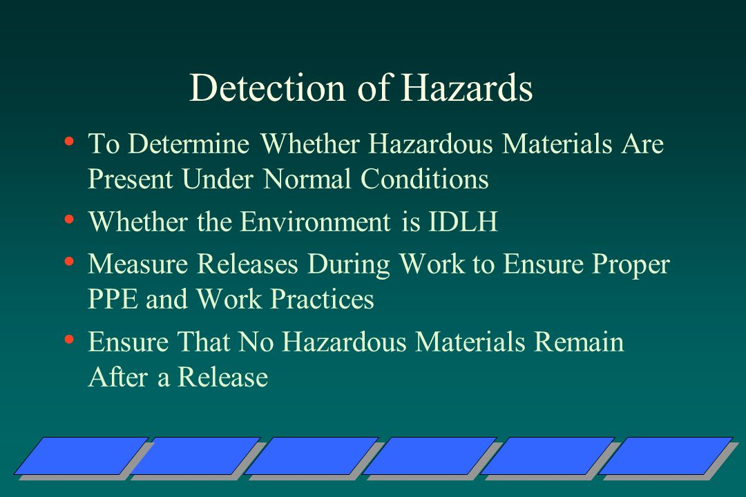 Detection of Hazards To Determine Whether Hazardous Materials Are Present Under Normal Conditions. Whether the Environment is IDLH.