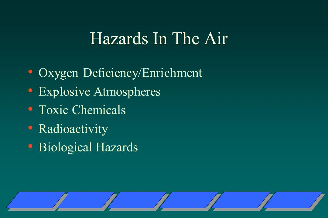 Hazards In The Air Oxygen Deficiency/Enrichment Explosive Atmospheres