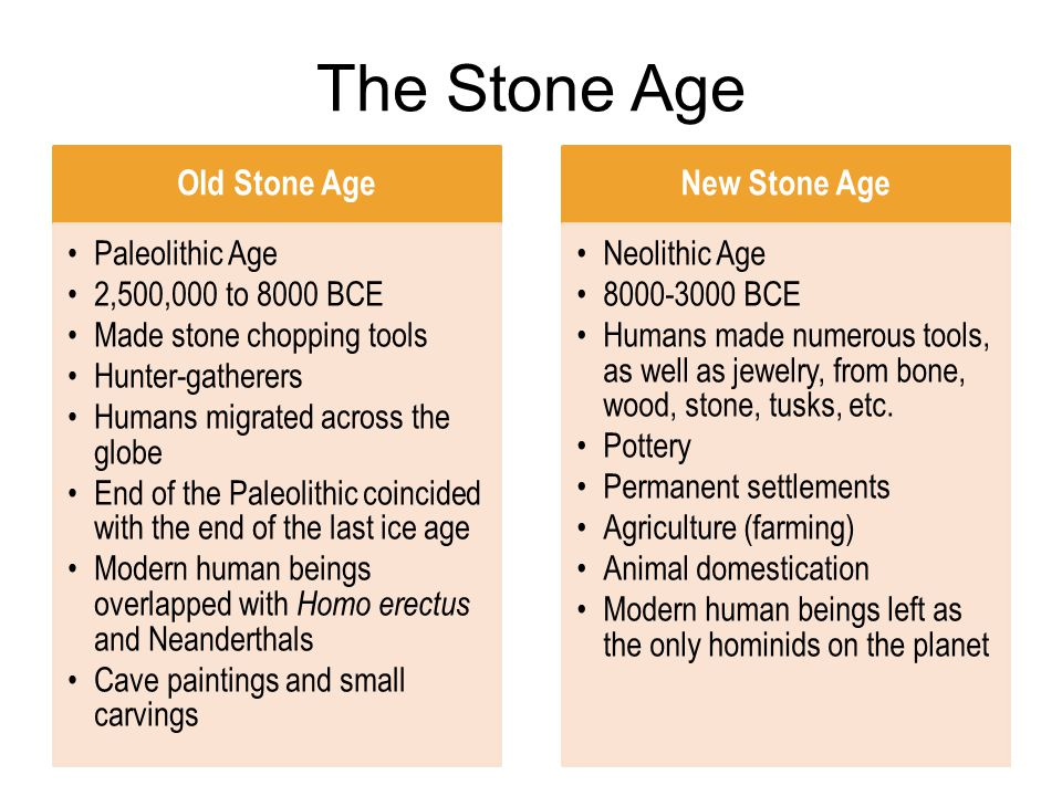 The Stone Age Old Stone Age New Stone Age Paleolithic Age