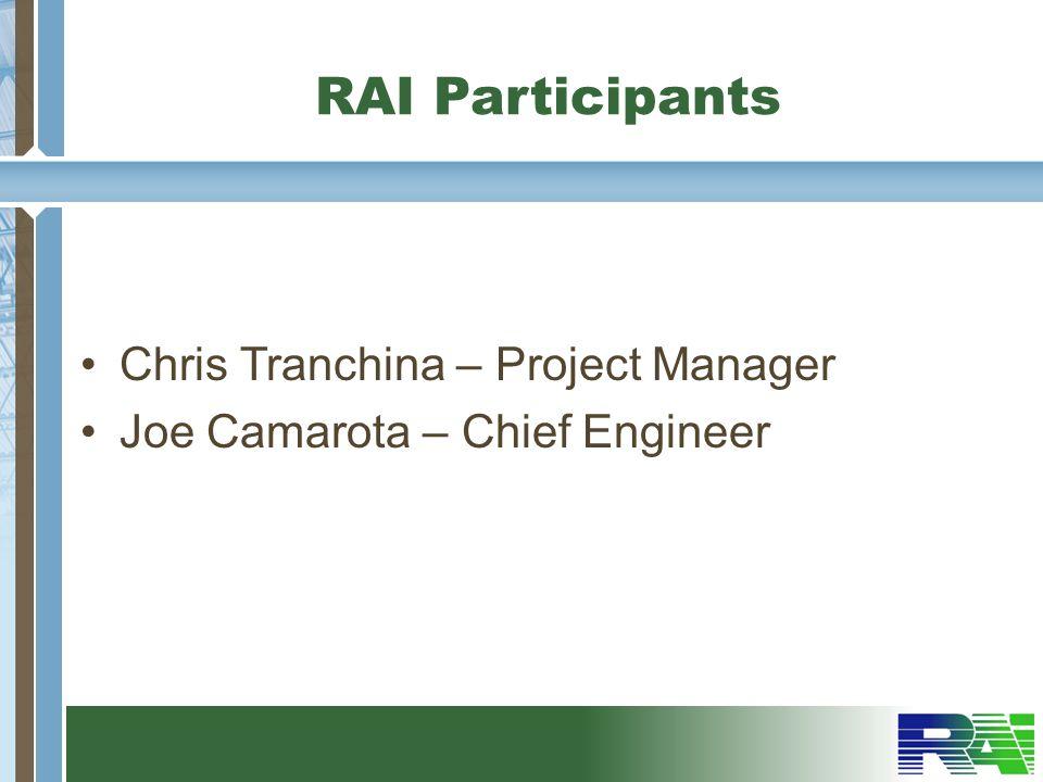 RAI Participants Chris Tranchina – Project Manager
