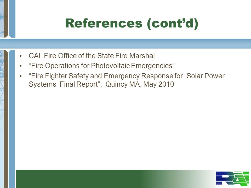 References (cont'd) CAL Fire Office of the State Fire Marshal