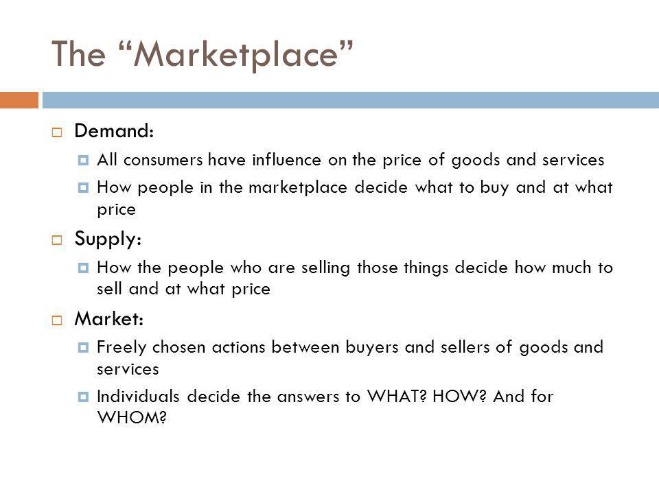 The Marketplace Demand: Supply: Market: