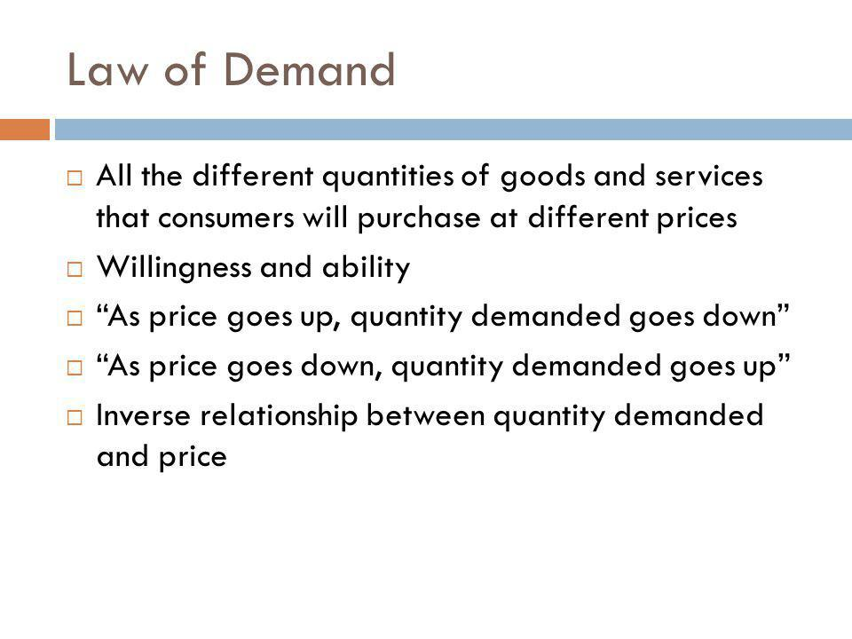 Law of Demand All the different quantities of goods and services that consumers will purchase at different prices.