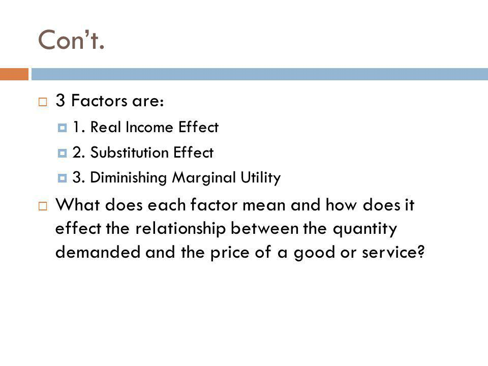 Con't. 3 Factors are: 1. Real Income Effect. 2. Substitution Effect. 3. Diminishing Marginal Utility.