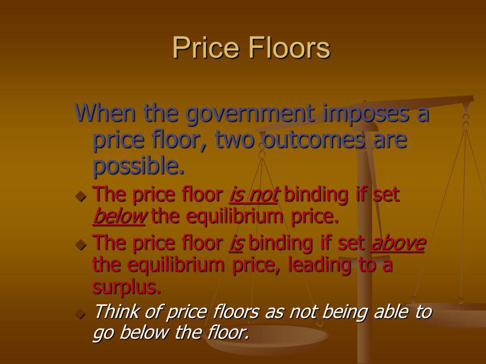 Price Floors When the government imposes a price floor, two outcomes are possible.