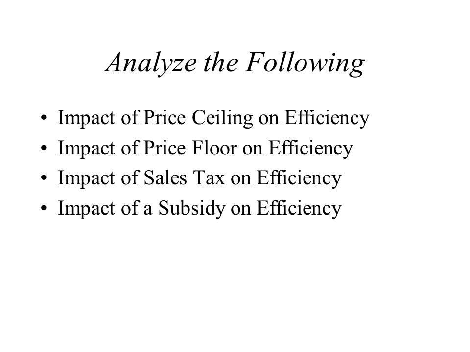 Analyze the Following Impact of Price Ceiling on Efficiency