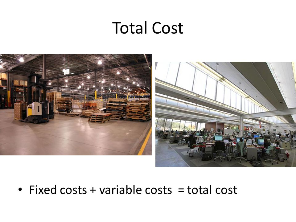 Total Cost Fixed costs + variable costs = total cost