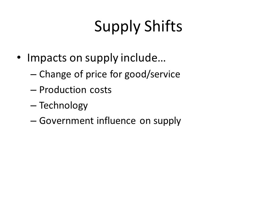 Supply Shifts Impacts on supply include…