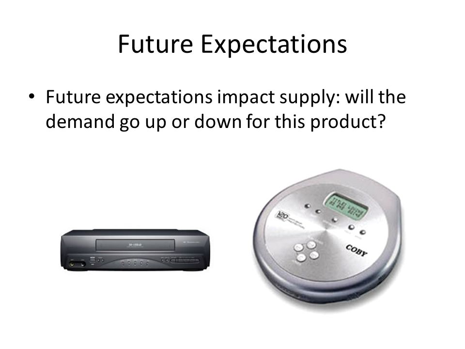 Future Expectations Future expectations impact supply: will the demand go up or down for this product