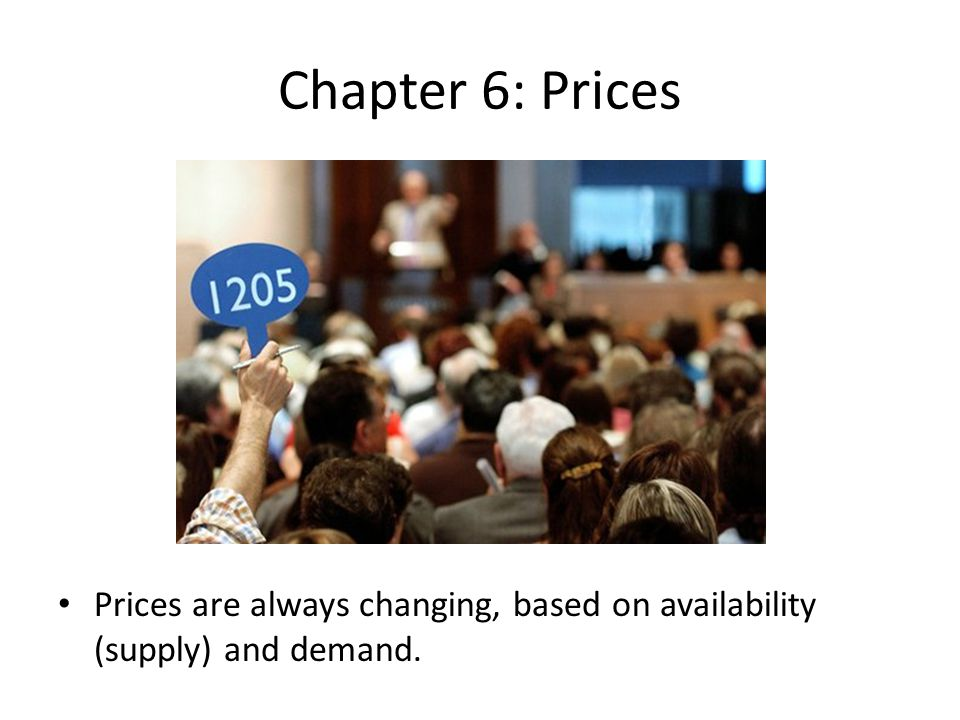 Chapter 6: Prices Prices are always changing, based on availability (supply) and demand.