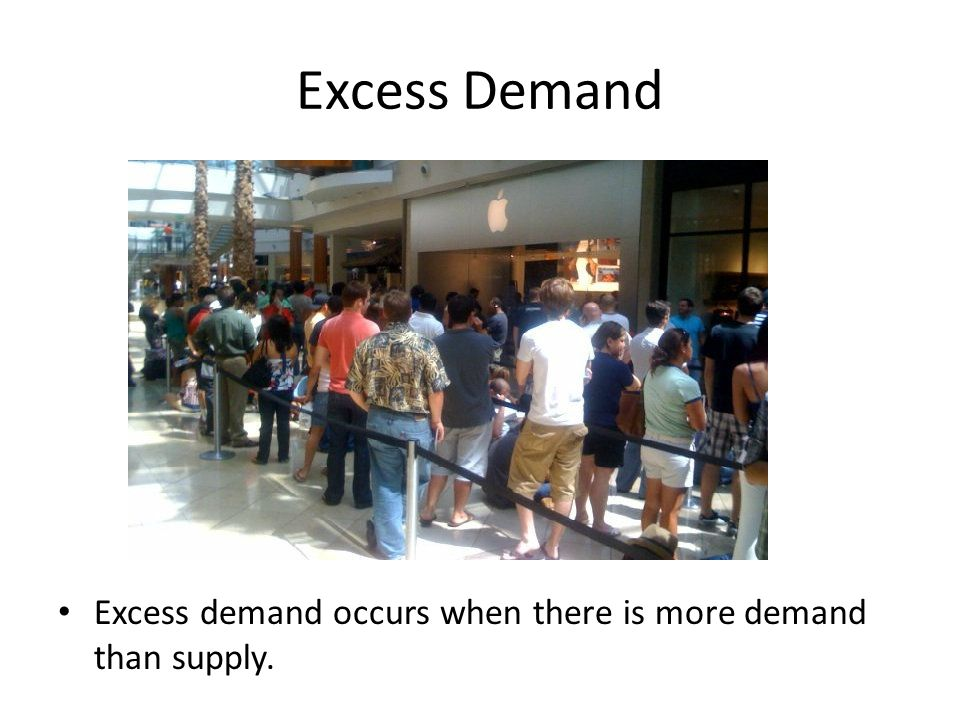 Excess Demand Excess demand occurs when there is more demand than supply.