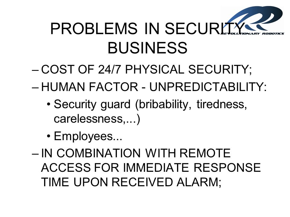 PROBLEMS IN SECURITY BUSINESS