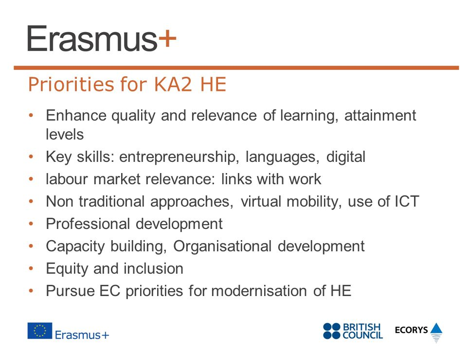Priorities for KA2 HE Enhance quality and relevance of learning, attainment levels. Key skills: entrepreneurship, languages, digital.