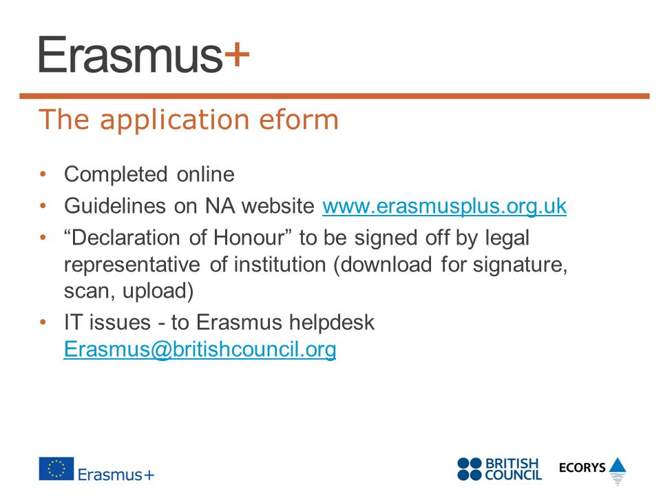 The application eform Completed online