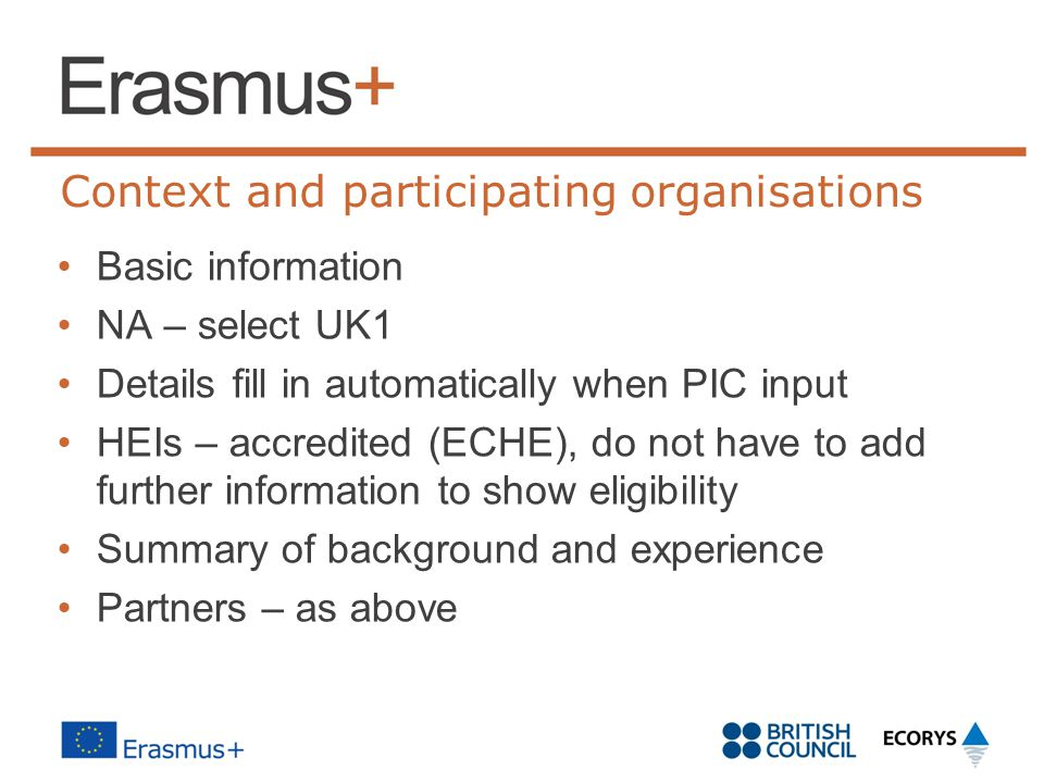 Context and participating organisations