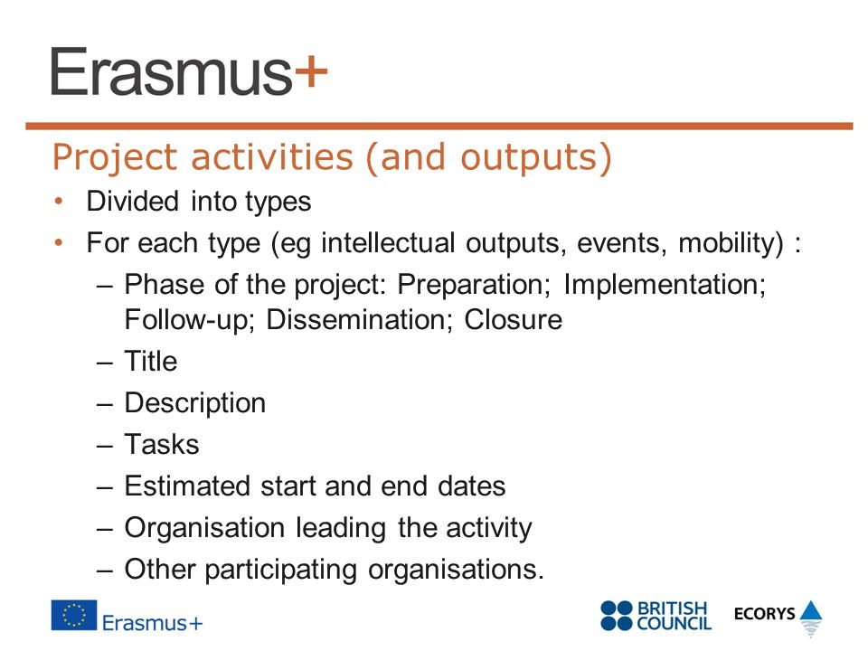 Project activities (and outputs)