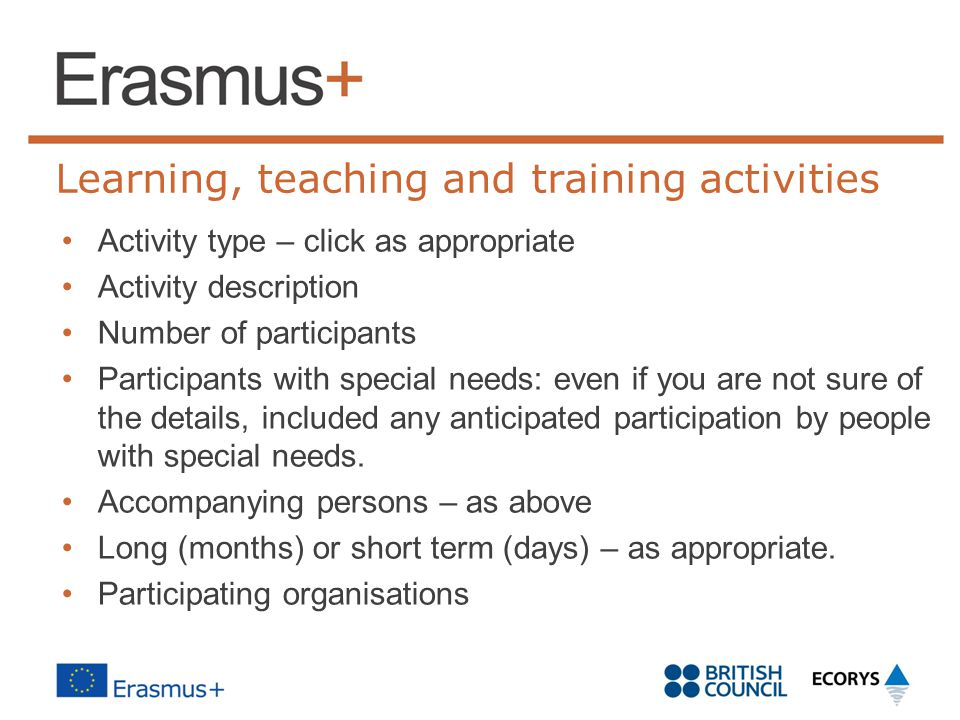 Learning, teaching and training activities