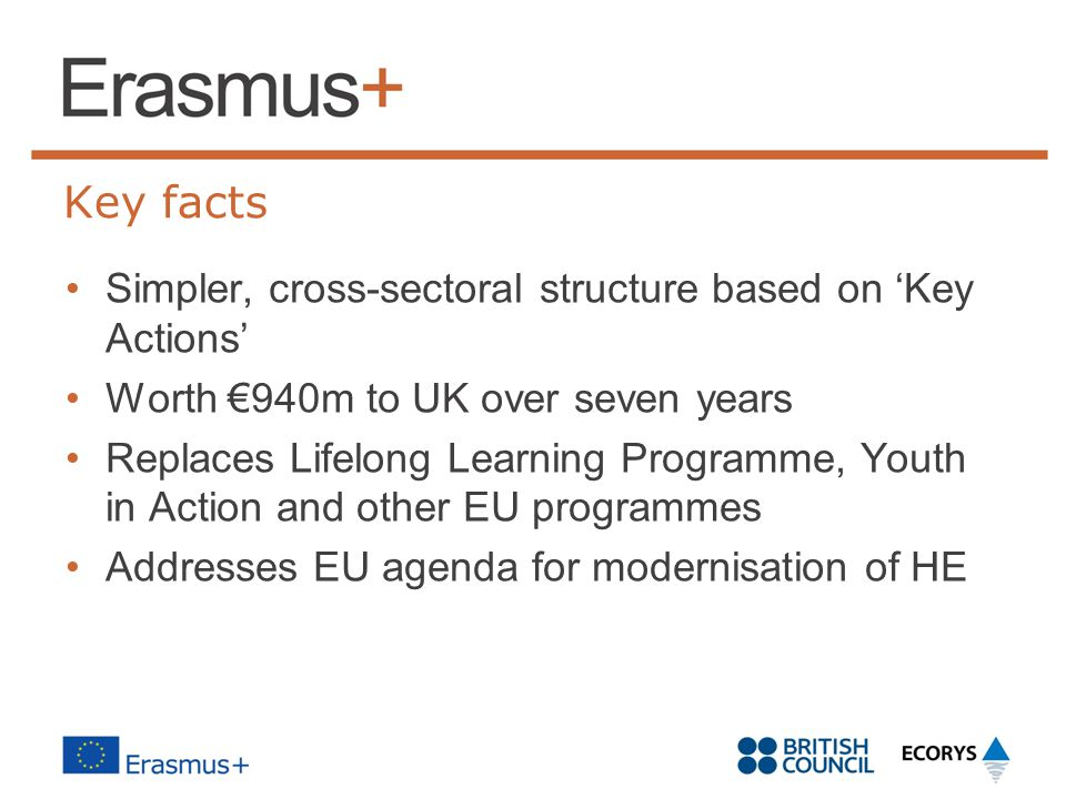 Key facts Simpler, cross-sectoral structure based on 'Key Actions'