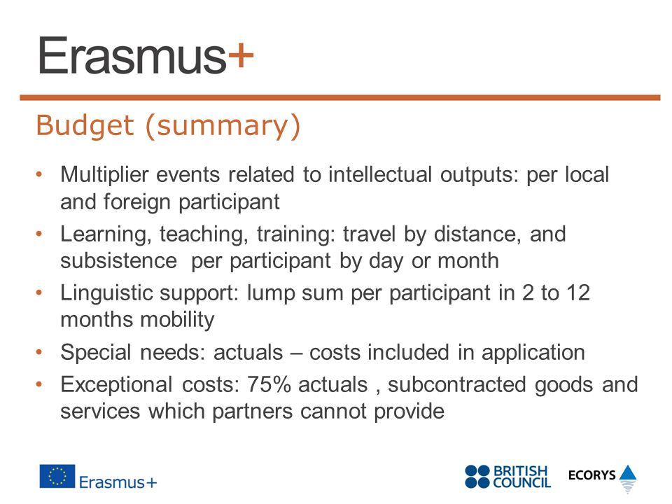 Budget (summary) Multiplier events related to intellectual outputs: per local and foreign participant.
