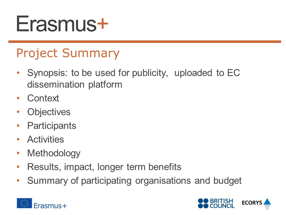 Project Summary Synopsis: to be used for publicity, uploaded to EC dissemination platform. Context.