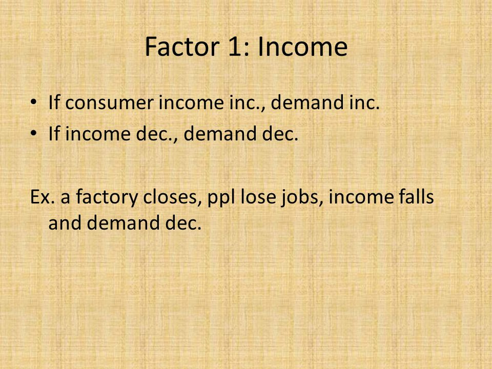 Factor 1: Income If consumer income inc., demand inc.