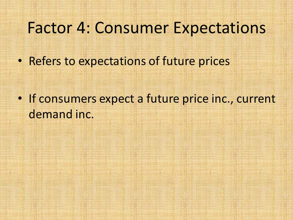 Factor 4: Consumer Expectations