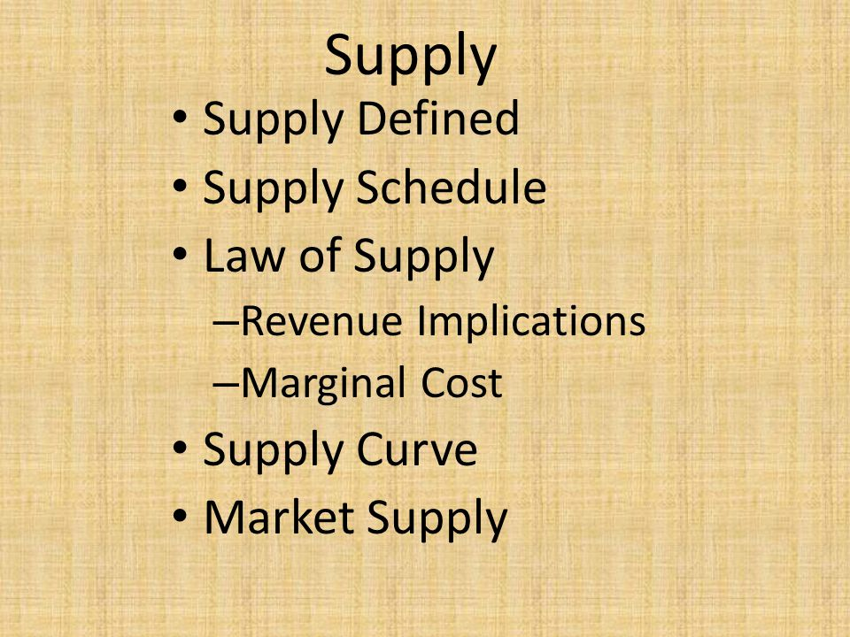 Supply Supply Defined Supply Schedule Law of Supply Supply Curve